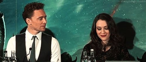 """What I Really Want for Christmas: Find myself in a situation where Tom will be all """"'Sup?"""" and I'll be Kat Dennings in this Tom Hiddleston GIF."""