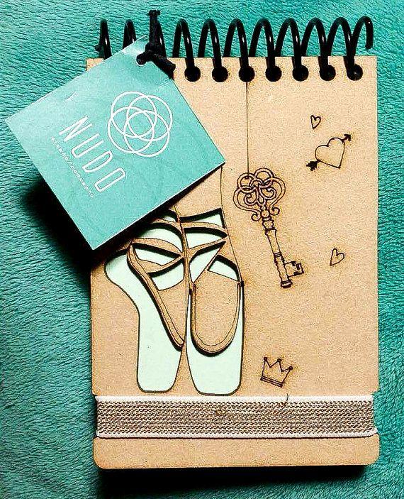 Ballet Bailarina zapatos regalo de Recital de danza notebook mini bailarín Bloc de notas sketchbook bolsillo diario laser de madera hecho a mano libreta 5x3.6