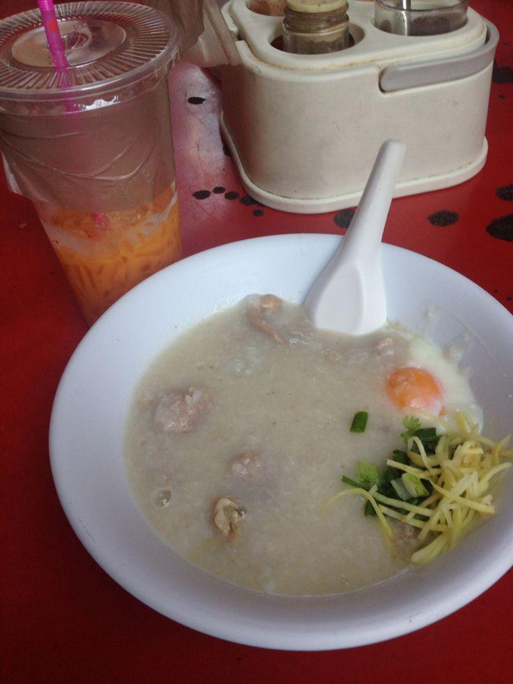 Pork Porridge and milk tea