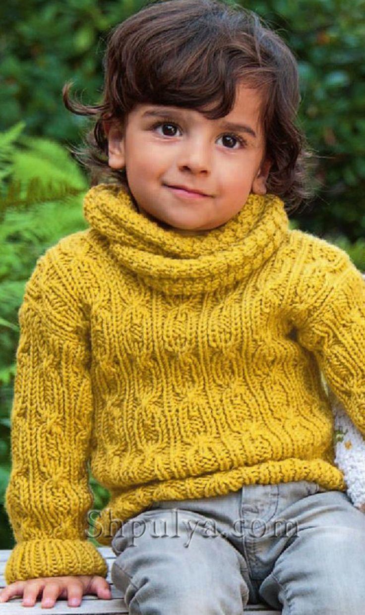 Детский пуловер с косами и воротник-хомут