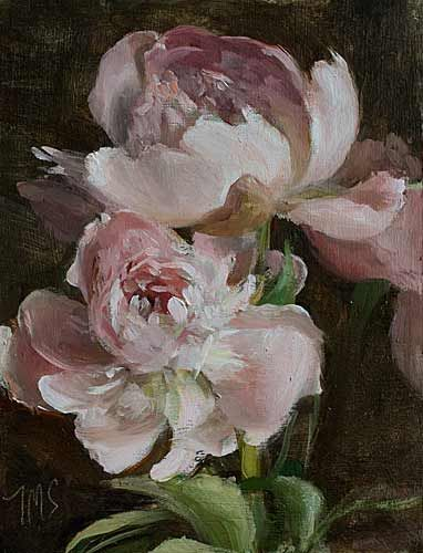 Market Day Peonies by Julian Merrow-Smith ~ I can see the petals falling softly to the ground as I inhale deeply...