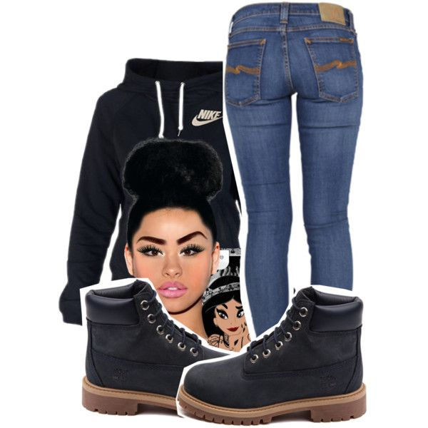 A fashion look from January 2015 featuring NIKE hoodies, Nudie Jeans Co. jeans and Timberland ankle booties. Browse and shop related looks.