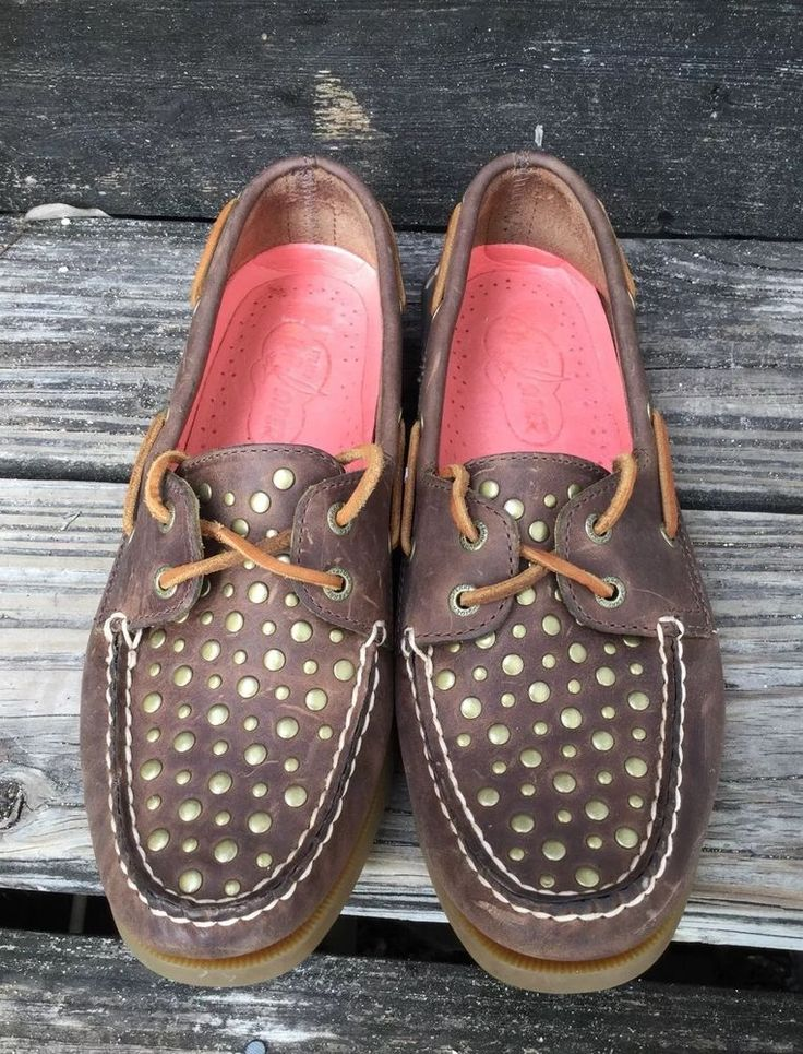 Sperry Topsider Ladies Boat Shoes Studded Brown Leather 8.5 VGC in Clothing, Shoes & Accessories, Women's Shoes, Flats & Oxfords | eBay