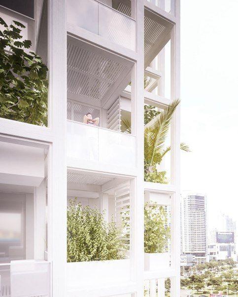 Дизайн многоквартирного дома в Токио с переносными зелеными уголками.