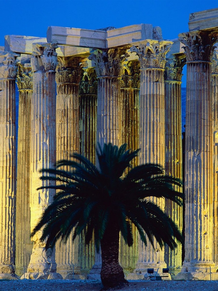 Temple Of Olympian Zeus Athens - Construction began in the 6th century BC. - Greece.