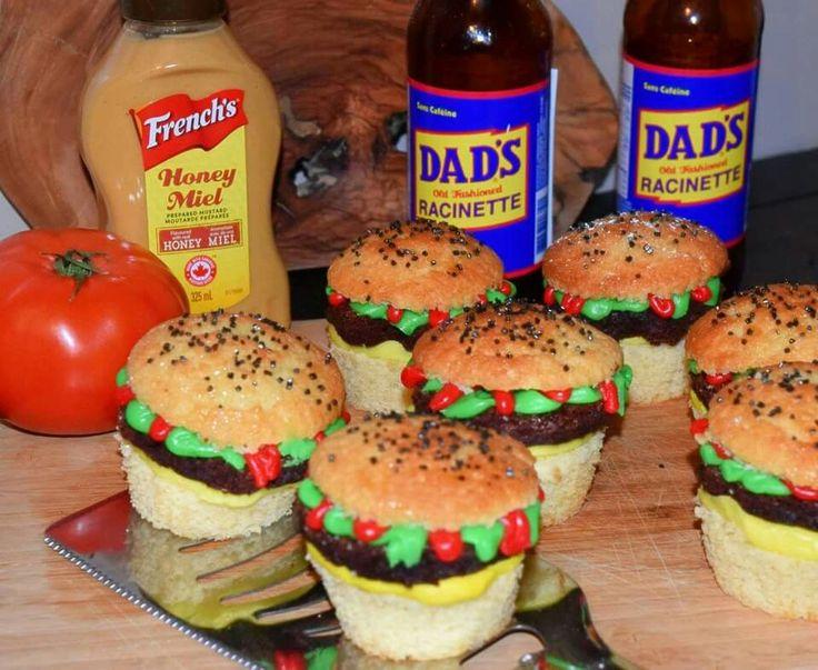 Burger Cupcakes with Brownie Patties!