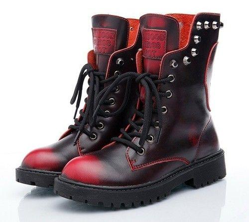 Punk Ladies Cowhide Stud Martin Safe Combat Chukka Military Riding Western Boots | eBay