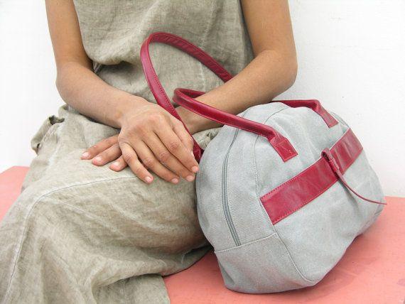 In pelle e tela retrò Vintage Weekend Bag, ventiquattrore, zainetto, bagaglio a mano, borsa sportiva