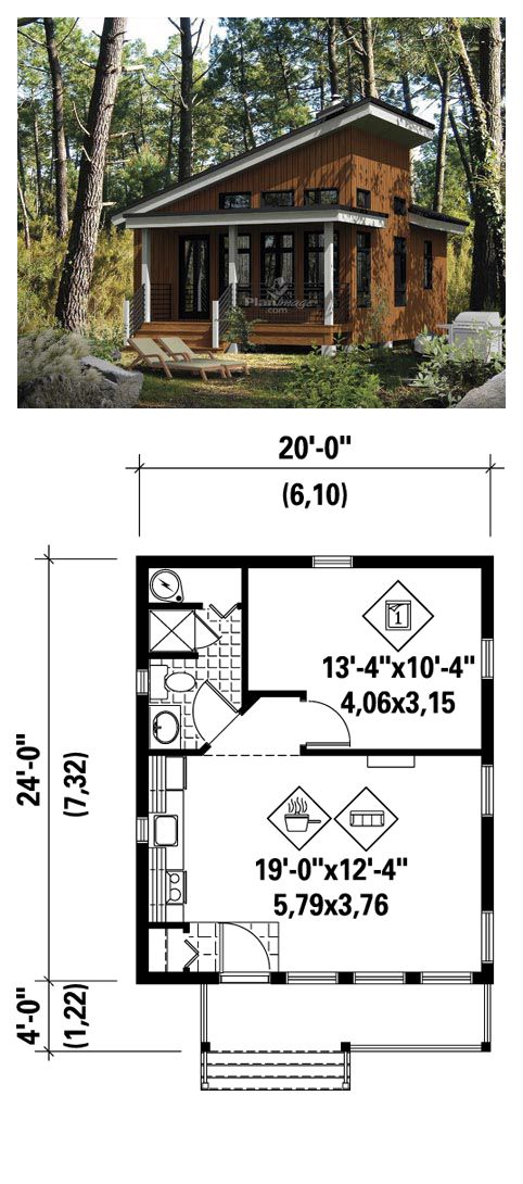 Narrow Lot House Plan 52781   Total Living Area: 480 sq ft, 1 bedroom 1 bathroom. To enjoy the pleasures of nature, there's nothing like this charming cottage with sloping ceiling in the front. This model has an open room which includes the kitchen, living room and access to a bathroom and a master bedroom. #narrowlotplan #houseplan