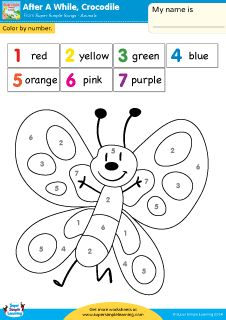 after a while crocodile simple color by number worksheet from super - Simple Color Number Printables