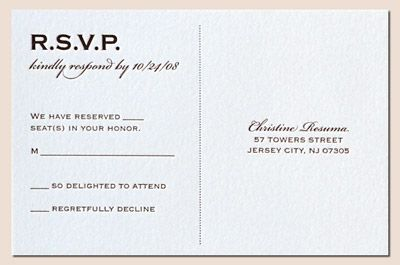 "RSVP postcard at the end of a seal and send invite. Also addresses the ""Plus One"" issue."