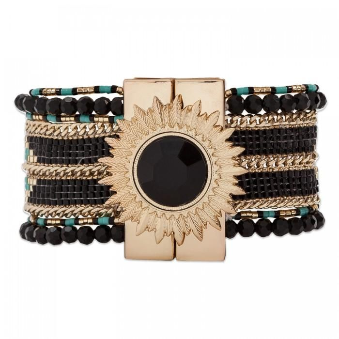 The Hipanema Eternity is a bohemian chic handmade bracelet with multiple rows covered with colorful beads weaved in chains. The Hipanema EternityBlack features