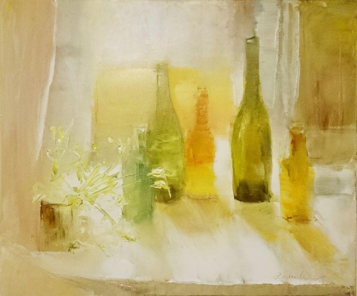 """Oil painting """"lightness in bottles"""" by Radmila Filimonova, Latvian painter from Riga. More paintings www.radmilaart.com"""