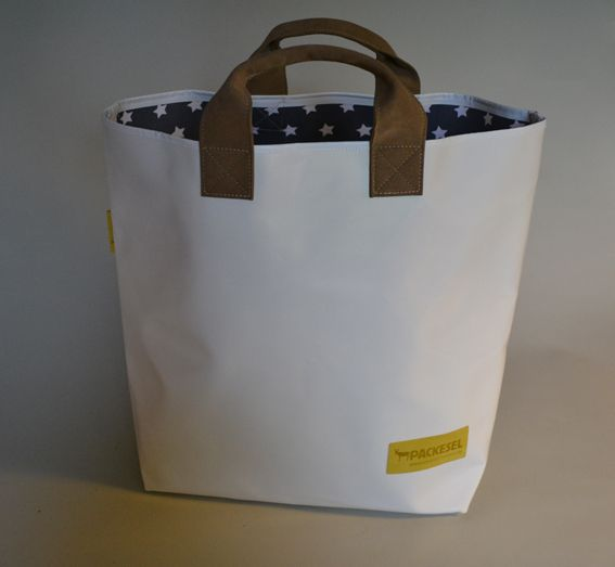 Einkaufstaschen - Einkaufstasche grau mit weißen Sternen - ein Designerstück von Packesel-Taschen bei DaWanda