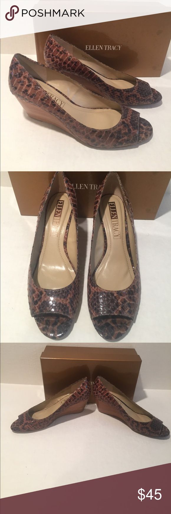 ELLEN TRACY COGNAC SNAKE PRINT PEEP TOE WEDGES 8.5 ELLEN TRACY COGNAC SNAKE PRINT PEEP TOE WEDGES 8.5 Brand new in box. These shoes look great with everything. Please refer to pictures and no trades. Ellen Tracy Shoes Wedges