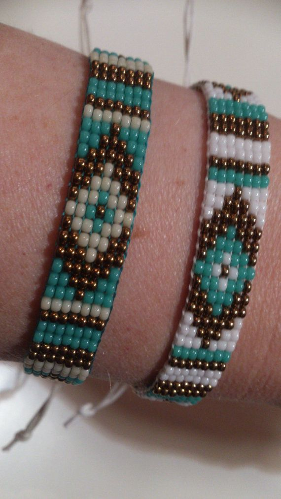 Loom beaded bracelet with waxed cord por Suusjabeads en Etsy