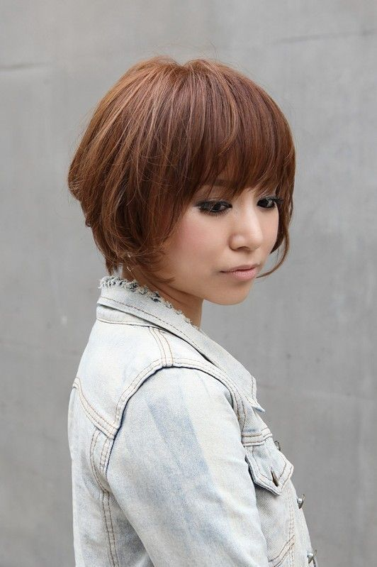 Gestapelte Haarschnitte mit Pony Brilliant Trendy Short Copper Haircut From Japan …