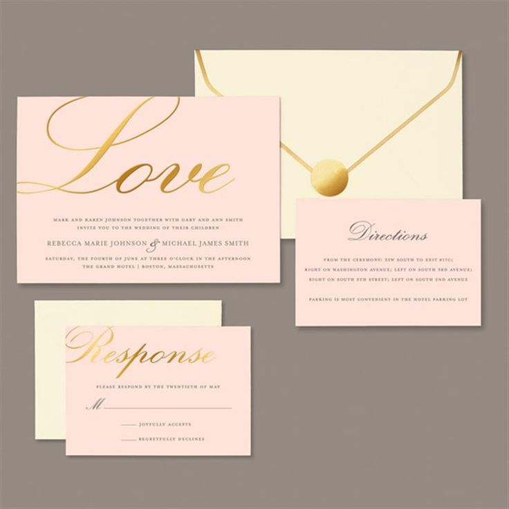 Brides 30-count Gold Love on Blush Invitation Kit (Brides Gold Love on Blush Invitation) (Paper)