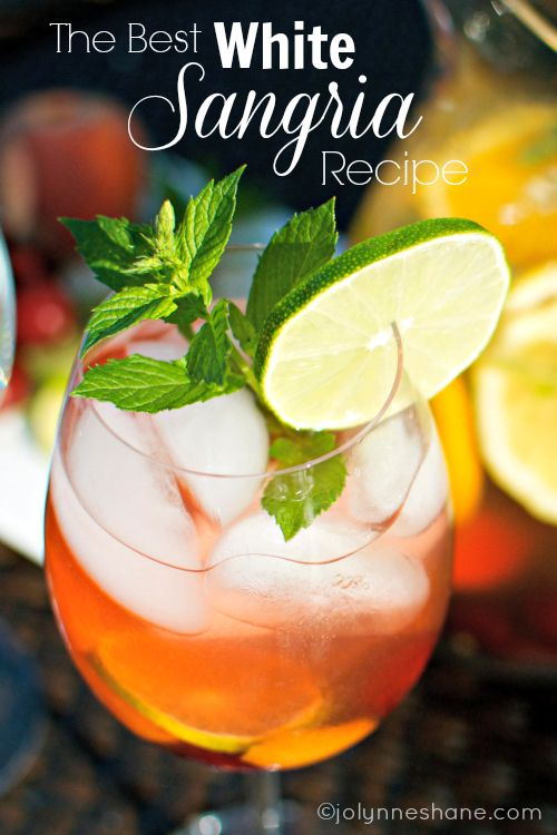 Best White Sangria Recipe:The basic components of sangria are fruit, wine, and a liqueur. Some add fruit juice or club soda, and most add a sweetener. The key is to let it sit for several hours so the flavors blend together. Click through for the recipe! Jo Lynne Shane