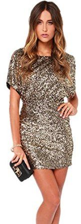 Sequin Shiny Glitter Sparkle Sleeve Bodycon Mini Gold Dress