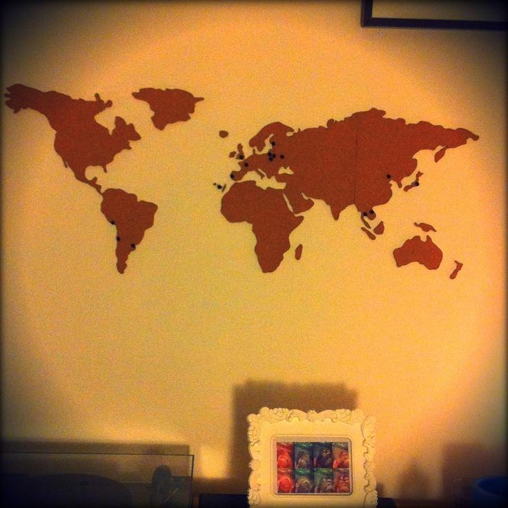 Mapa mundi de corcho para pegar en la pared la central - Pared de corcho ...