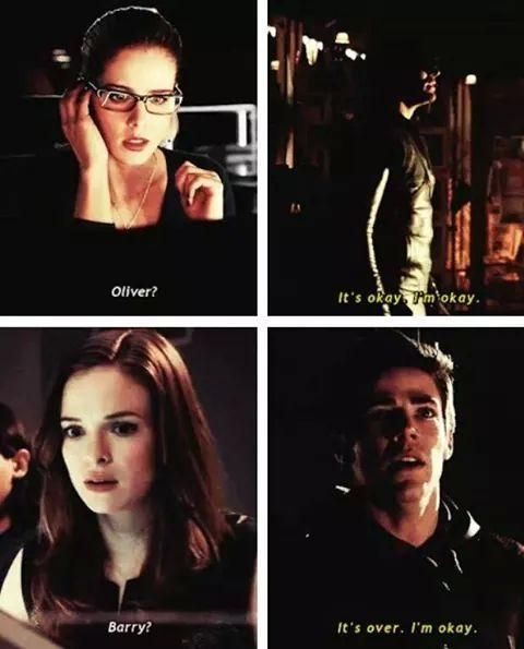 Felicity, Oliver, Barry and Caitlin... These ladies worry for their heroes.. Olicity and Snowbarry