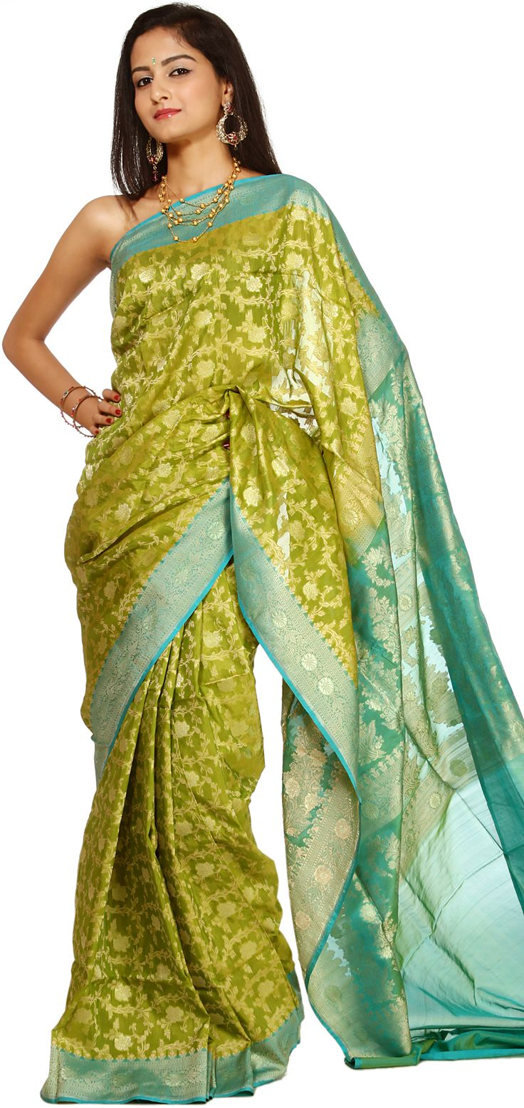 Lime-Green Jamdani Sari from Banaras with All-Over Brocaded Floral Weave