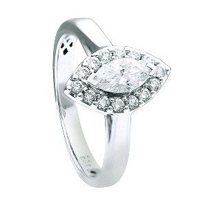 18ct white gold half carat marquise halo diamond ring - Product number 9595007
