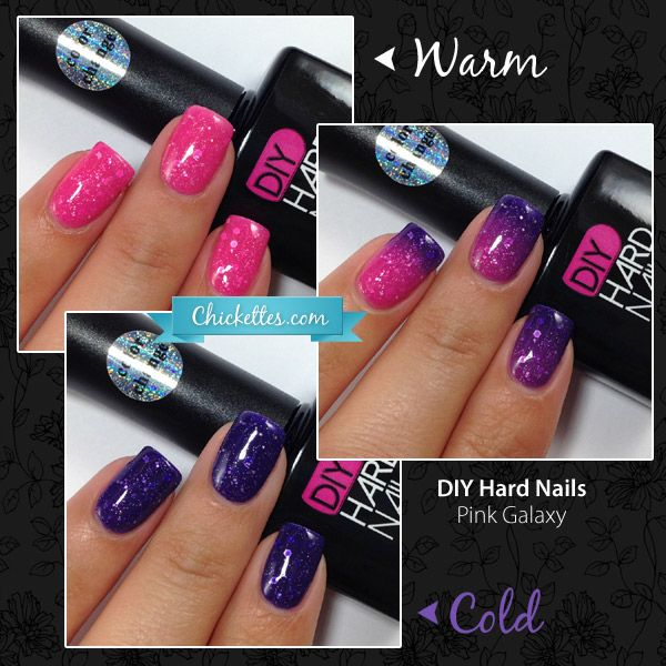 Back in Stock Today!  Chickettes.com Review of DIY Hard Nails Color Changing Polish - Pink Galaxy