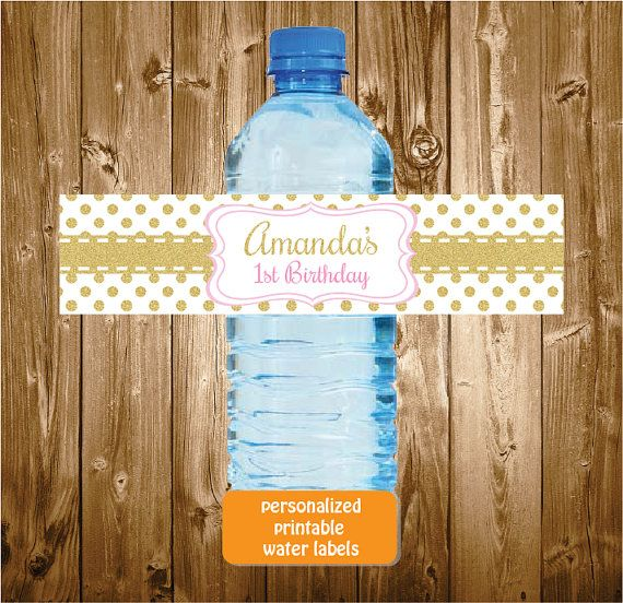 Personalized Printable Pink and Gold Glitter Polkadots Water