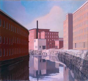 """""""Amoskeag Canal"""" by Charles Sheeler; 1948, Currier Museum of Art in New Hampshire"""