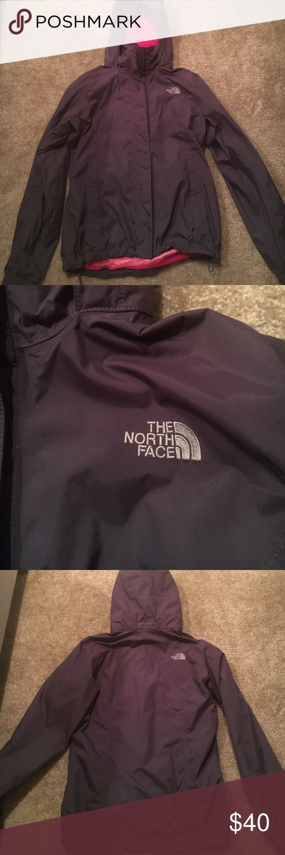 North Face Rain Jacket Purple and pink North Face rain jacket - women's size medium - several years old; still in great condition North Face Jackets & Coats