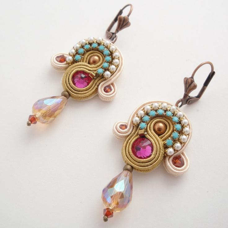 Soutache Embroidered Earrings. - via Etsy.