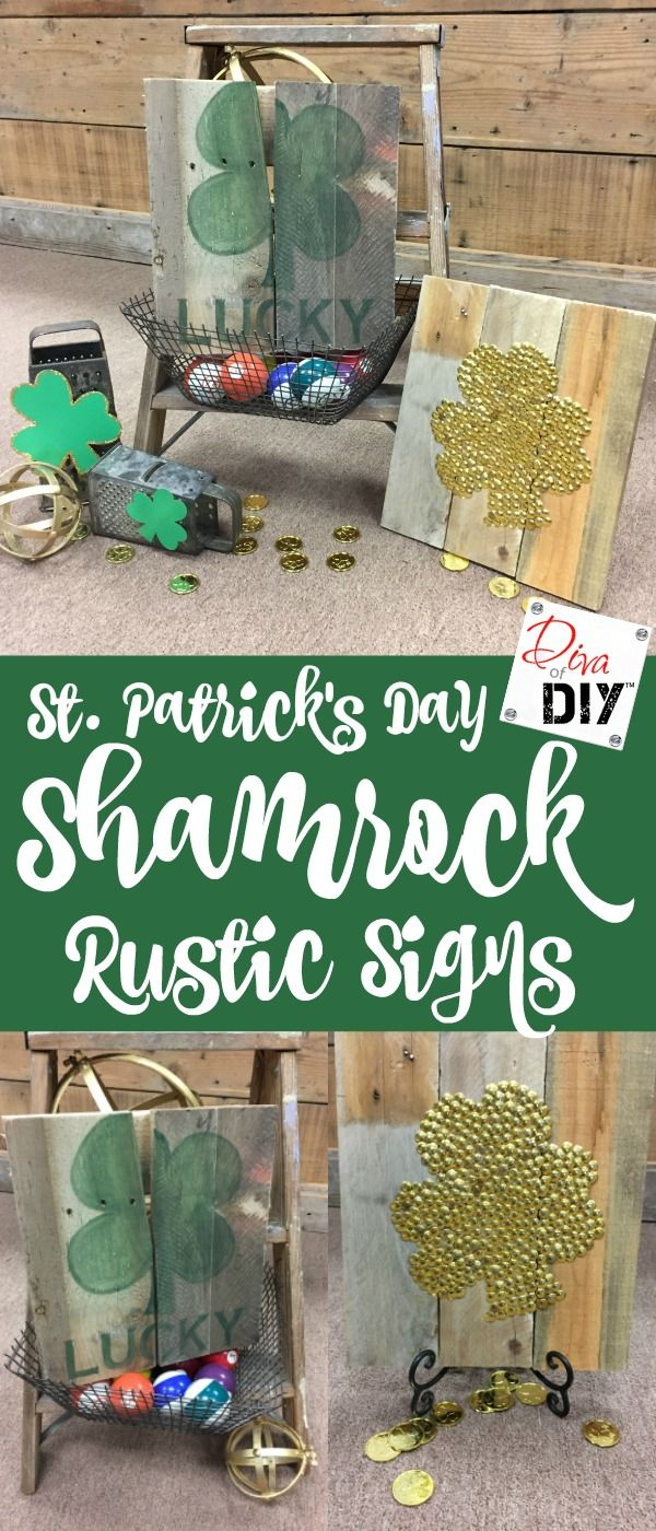 Quick and Easy St Patrick's Day decorations to match your home decor. This shamrock craft is made on reclaimed wood to give it a rustic farmhouse style look!
