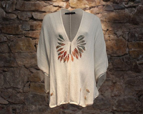 Cream summer poncho cotton cover up women poncho by quirogaquiroga