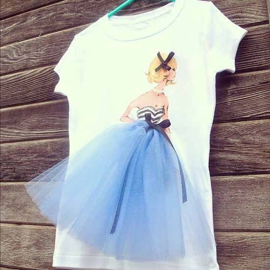 DIY Vintage Barbie Tee Shirt from Trash to Couture here. Ink jet print the image onto tee shirt transfer paper and then add the 3D elements like tulle and ribbon.