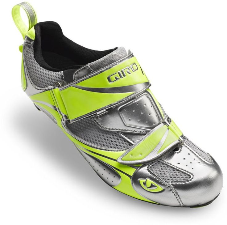 Giro Facet Tri Cycling Shoes: Bike shoes for triathletes and cyclists that have triathlon-specific features including a design for an easier transition during a triathlon. These are tri shoes or triathlon shoes with yellow elements.