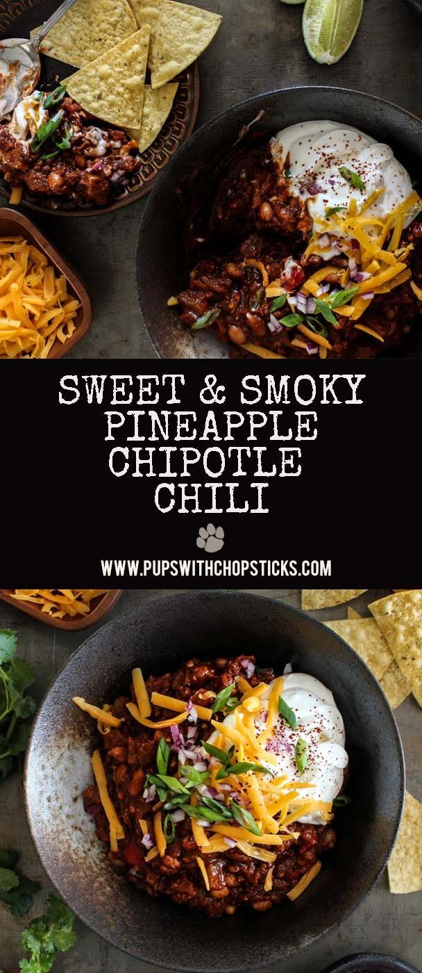A sweet and smoky pineapple chipotle chili with 2 secret ingredients. Cocoa powder & Gochujang paste that gives it a full bodied more rounded and nuttier flavour!