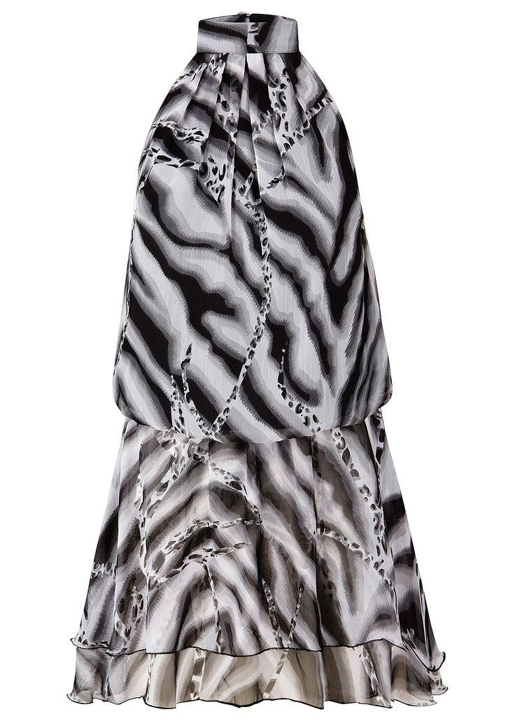 Vestido de chiffon branco estampado encomendar agora na loja on-line bonprix.de  R$ 159,00 a partir de Vestido de festa cheio de estilo, com cintura baixa ...