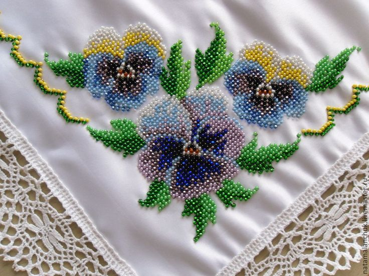 Салфетка, вышитая бисером #embroidery #bead