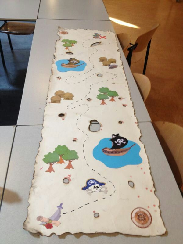 Large roll of paper, get children to draw own treasure map, passing things on the way
