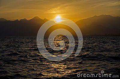 Medterranean sea sunset, Amazing sunset in Antalya, Silhouette
