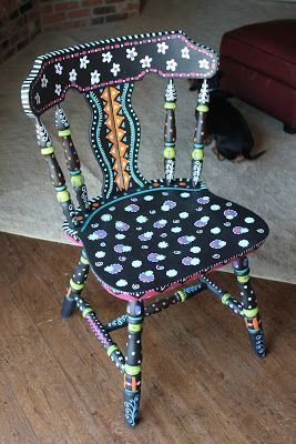 Need to do something like this with an old table in my room. Simply Sherrinda : Trash Chair DIY Redo!