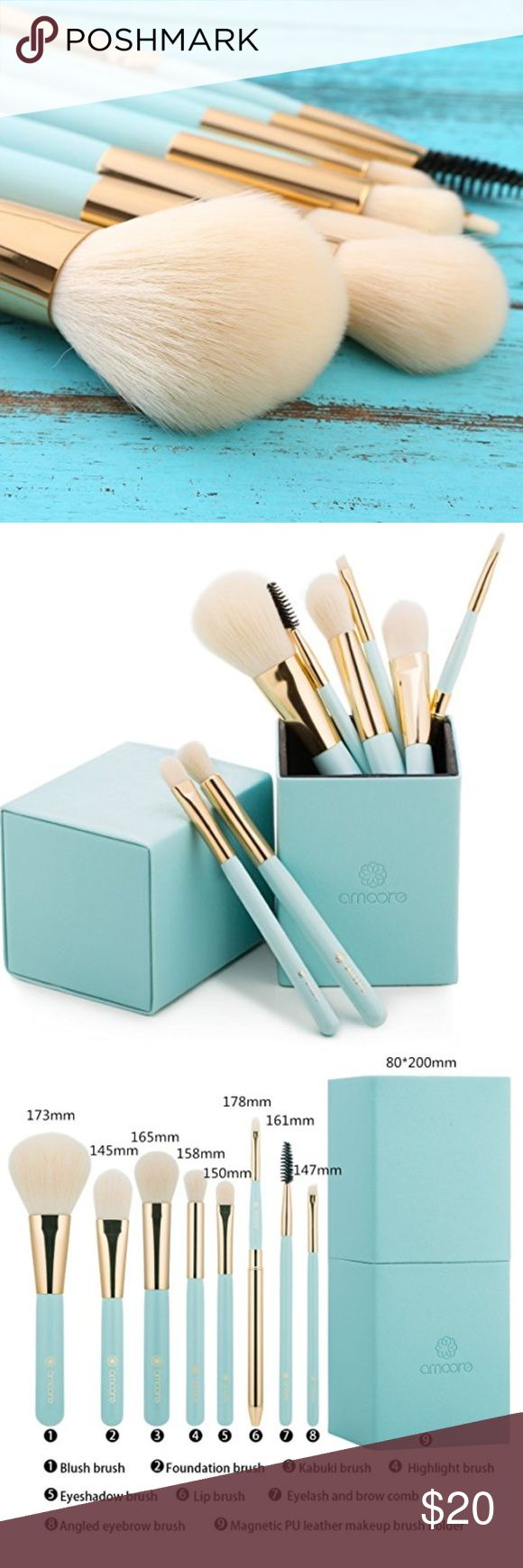 8 Piece Makeup Brush Set w/Magnetic Cup Holder 100% synthetic bristle brushes that are soft, dense and smooth. Perfect for contouring, highlighting and blending. Turquoise blue and gold handle. Comes with a PU leather makeup brush cup holder with magnetic closure.  Includes: 1*Foundation brush 1*Kabuki brush 1*Blush brush 1*Eye shadow brush 1*Eyelash and brow comb 1*Angled eyebrow brush 1*Highlight brush 1*Lip brush   Brand new & sealed in original packaging. Makeup Brushes & Tools