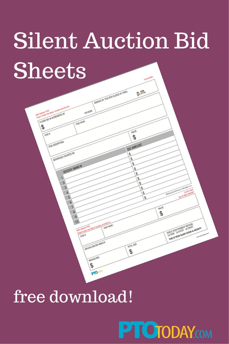 Download our free bid sheets for your upcoming auction!