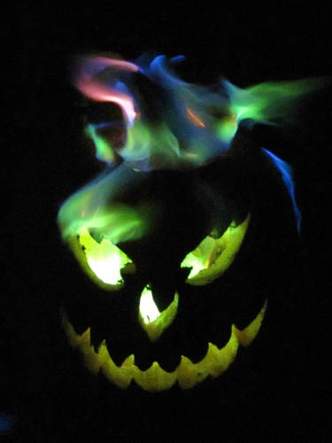 This is a carved pumpkin. I sprinkled the inside with boric acid, then added some methanol and lit a match.