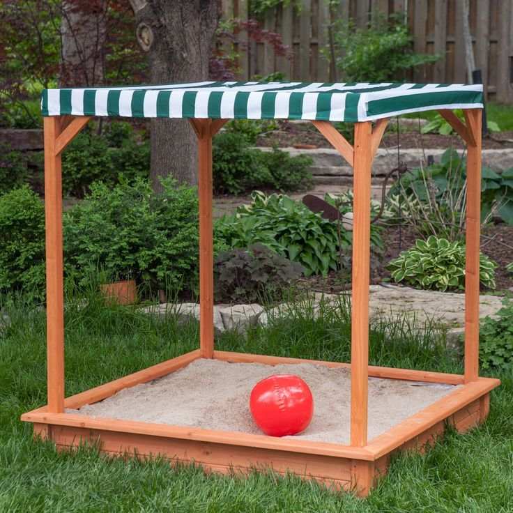 Sun Shade Wooden Sandbox With Canopy - Sandboxes at Hayneedle