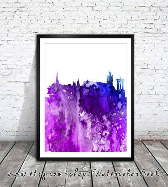 Edinburgh City Skyline Watercolor Print, Edinburgh art , Scotland  art, map art, map poster, map watercolor, City art, City silhouette, by WatercolorBook on Etsy https://www.etsy.com/listing/241570953/edinburgh-city-skyline-watercolor-print