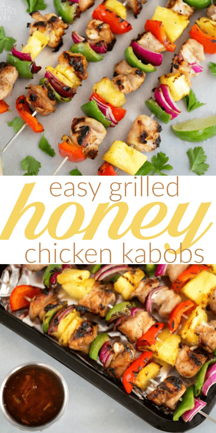 Easy Grilled Honey Chicken Kabobs - Our absolute family favorite! Such amazing flavors and easy to make!  Easy Grilled Honey Chicken Kabobs @Charbroil  #CharBroilAllStars #ad