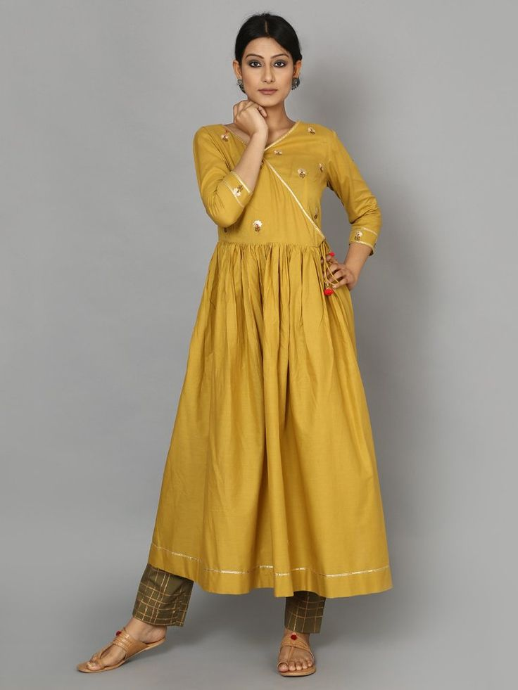 Mustard Green Cotton Angrakha Kurta with Pants - Set of 2